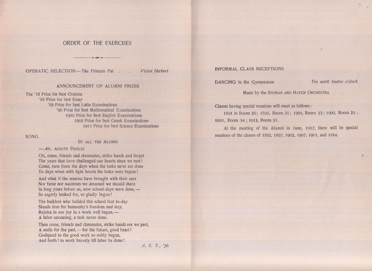 Hartford Public High School Alumni Association Meeting program 1916
