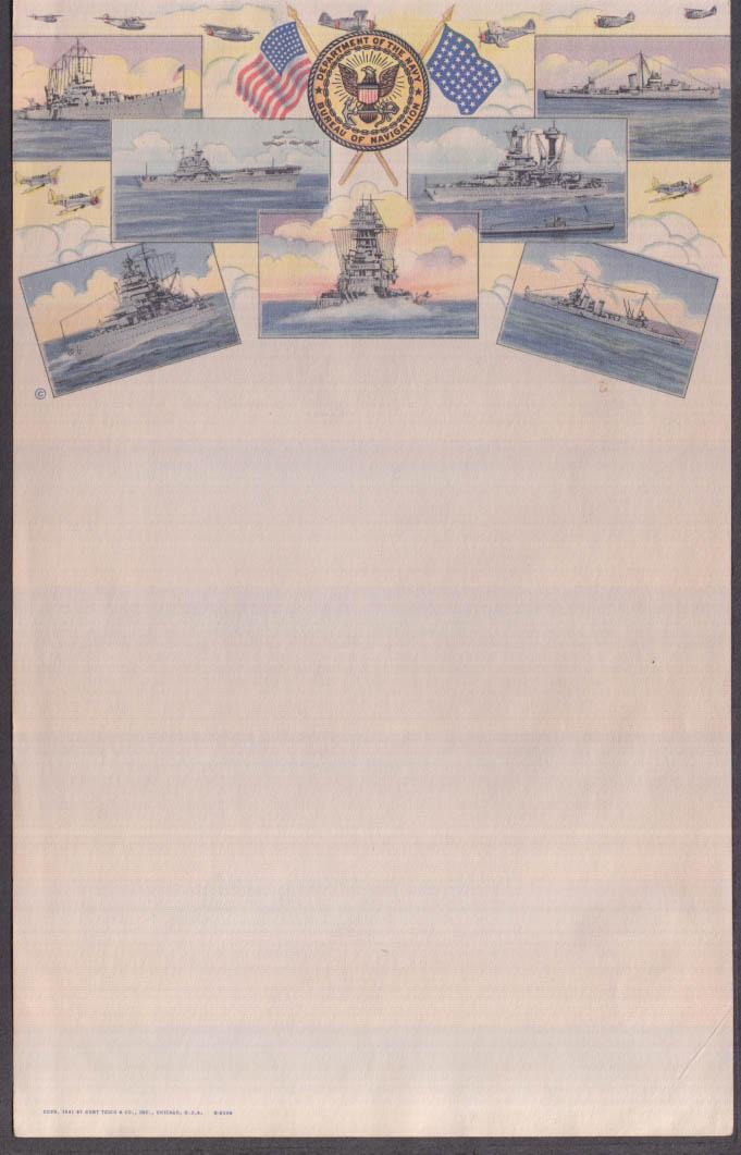 Department of the Navy Bureau of Navigation unused notepaper 1941
