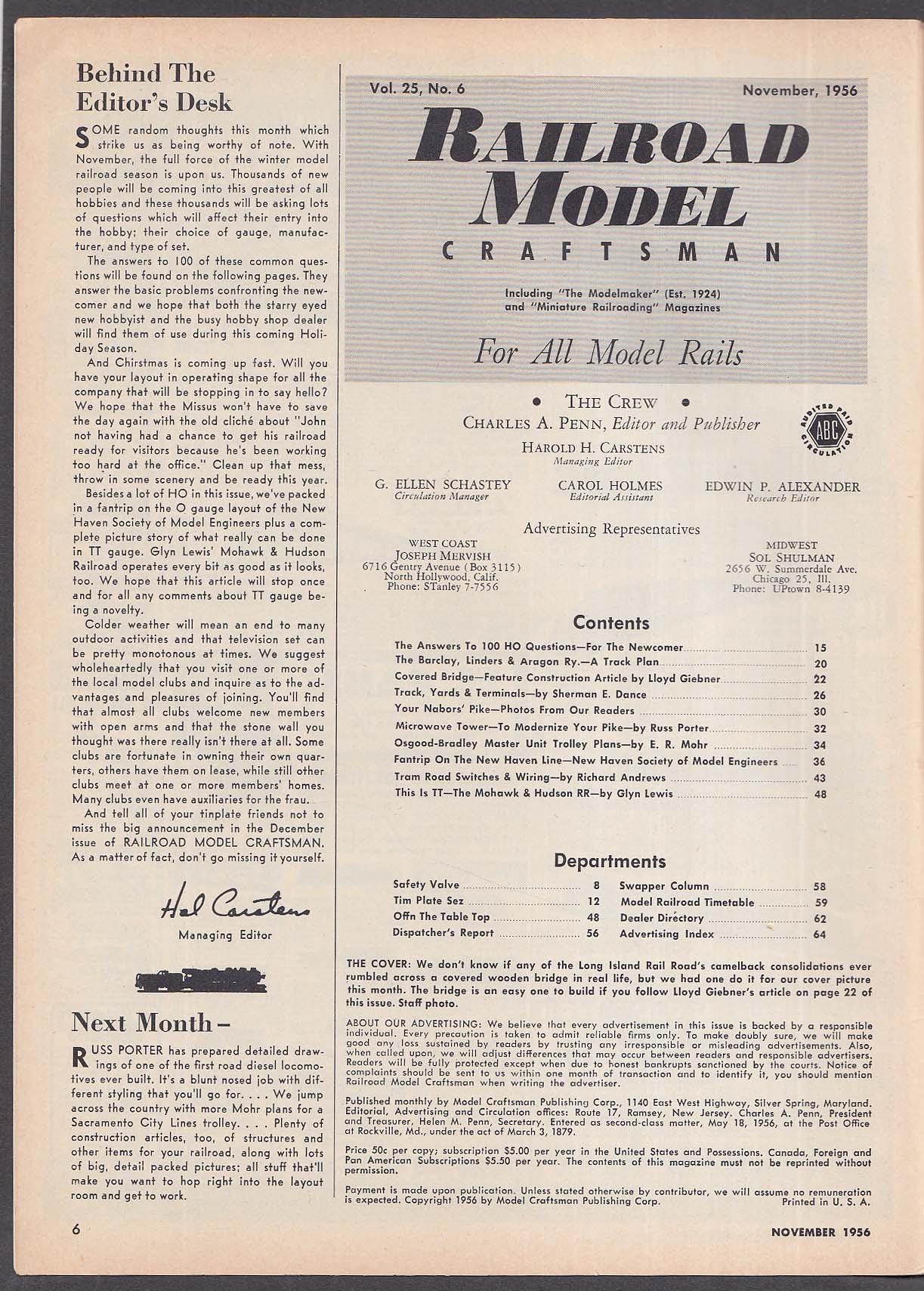 RAILROAD MODEL CRAFTSMAN Giebner Covered Bridge Mohawk & Hudson RR + 11 1956