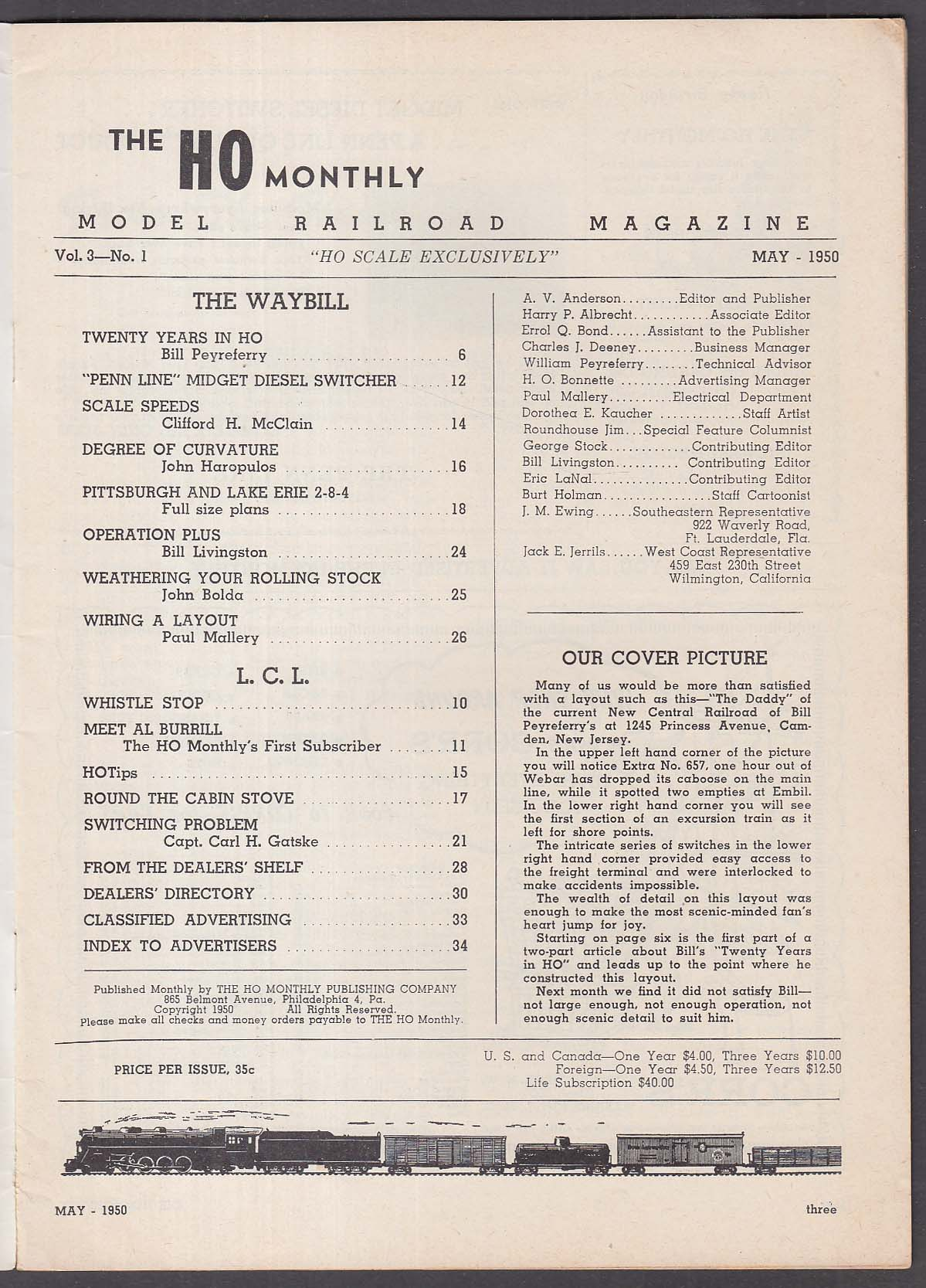 HO MONTHLY Model Railroad Magazine Pittsburgh & Lake Erie 2-8-4 Penn Line 5 1950