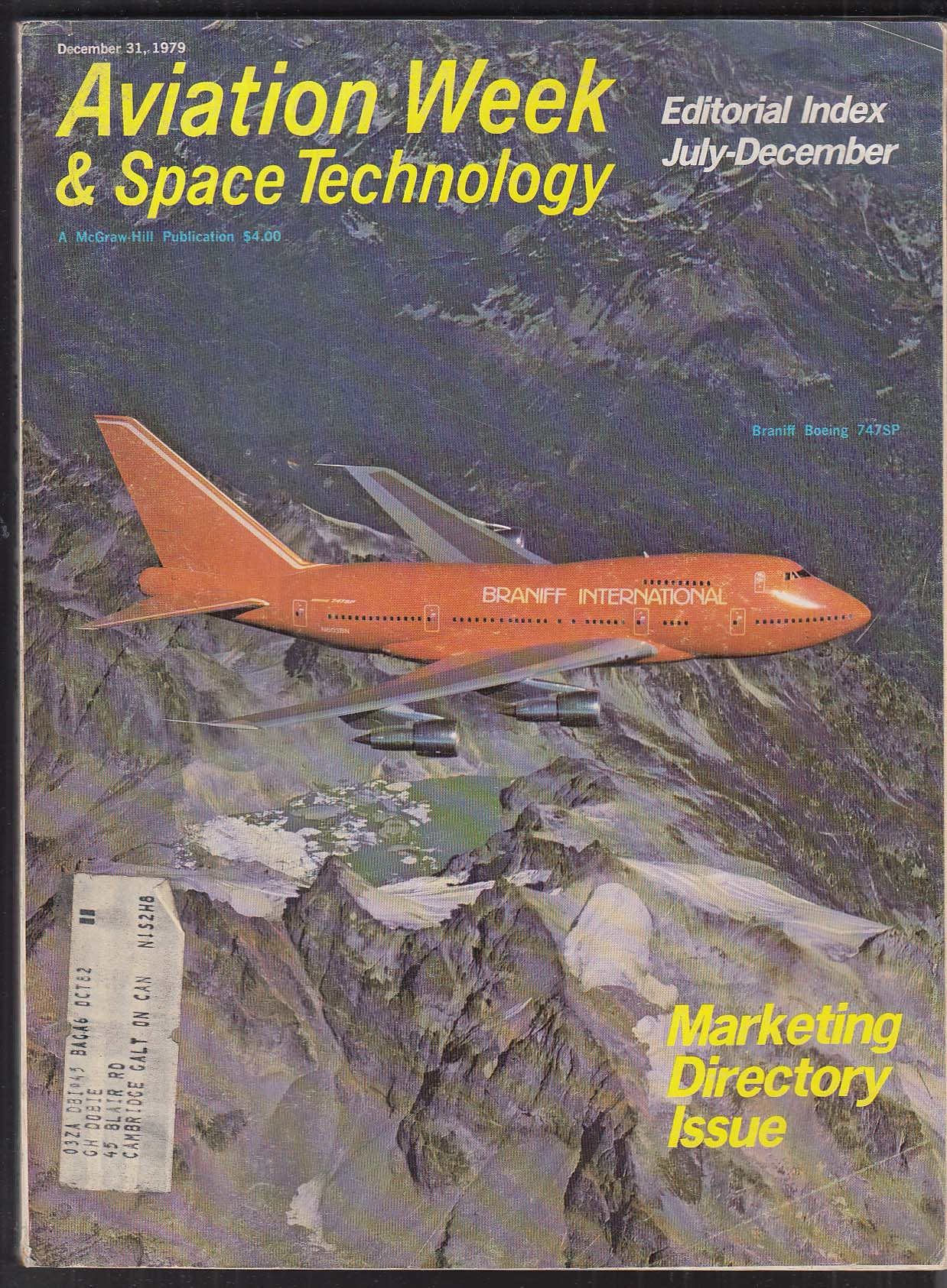 AVIATION WEEK & Space Technology Air France CF6 MX Missile Wasp + 12/31 1979