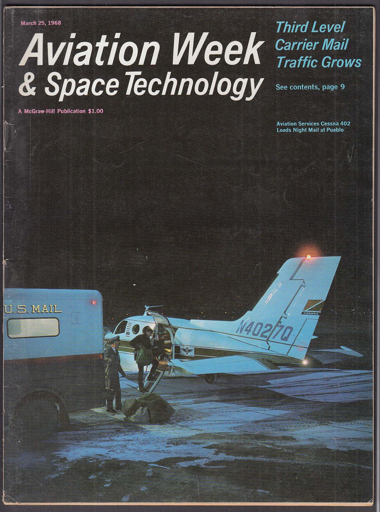 AVIATION WEEK & Space Technology Boeing 747 C-5A Avco Surveyor 7 + 3/25 1968