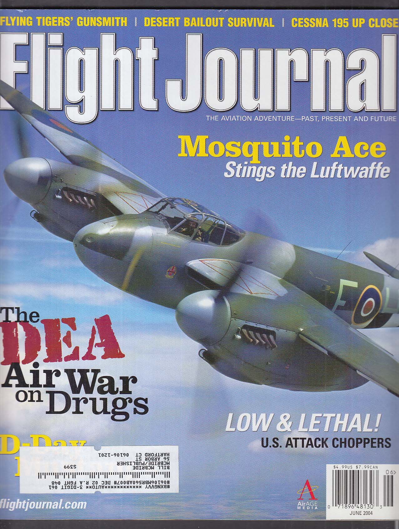 FLIGHT JOURNAL Murl Jasper Mosquito Flying Tigers AVG P-40 + 6 2004
