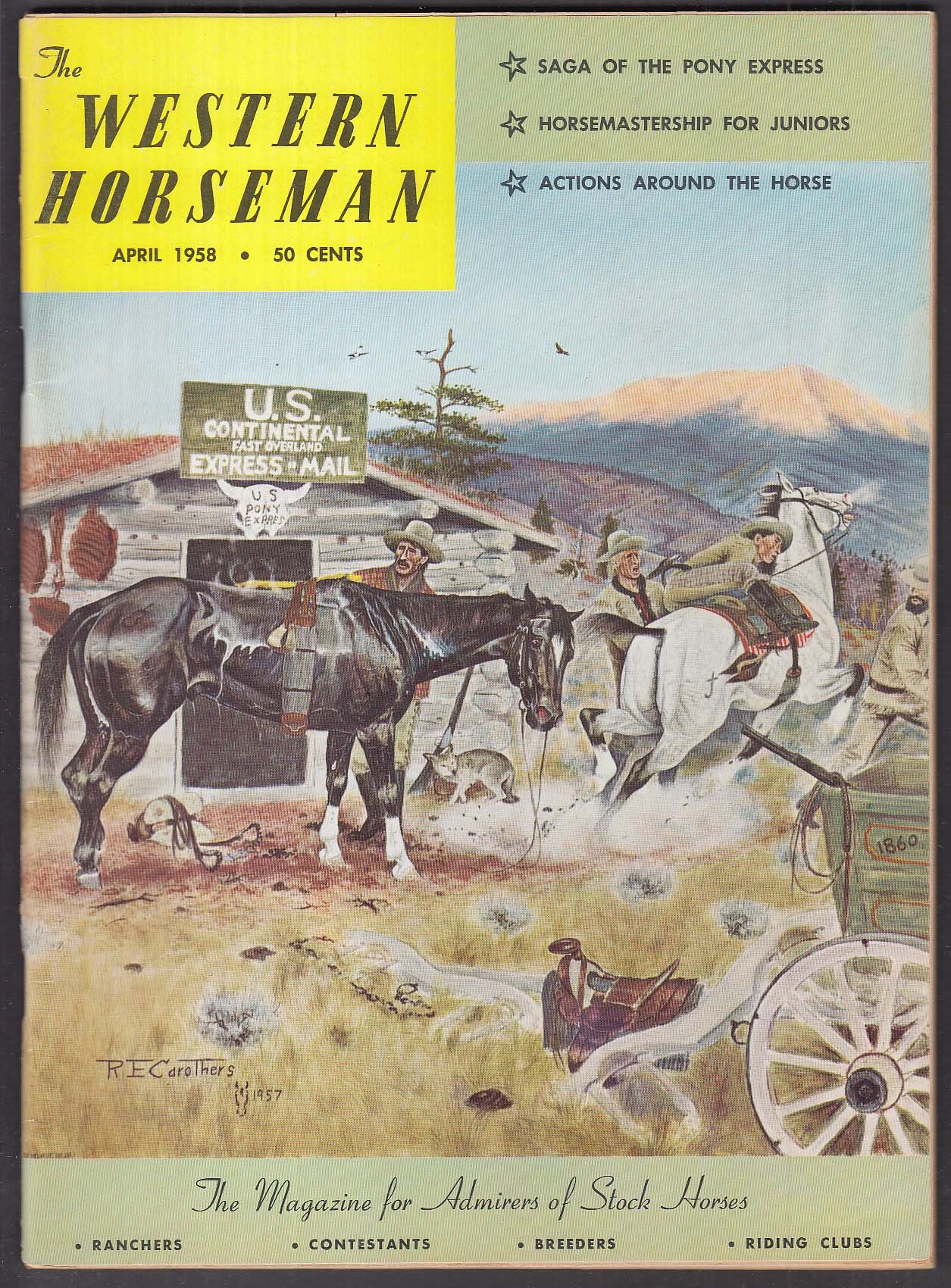 WESTERN HORSEMAN Pony Express; Hugh O'Brian; Irwin Shope + 4 1958
