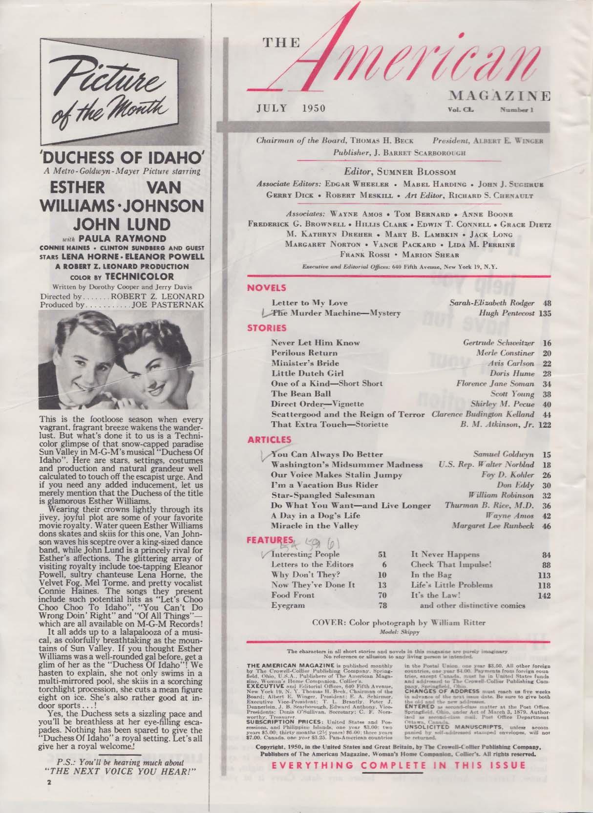 AMERICAN MAGAZINE Hugh Pentecost Samuel Goldwyn Finn Magnus Lola Albright 7 1950