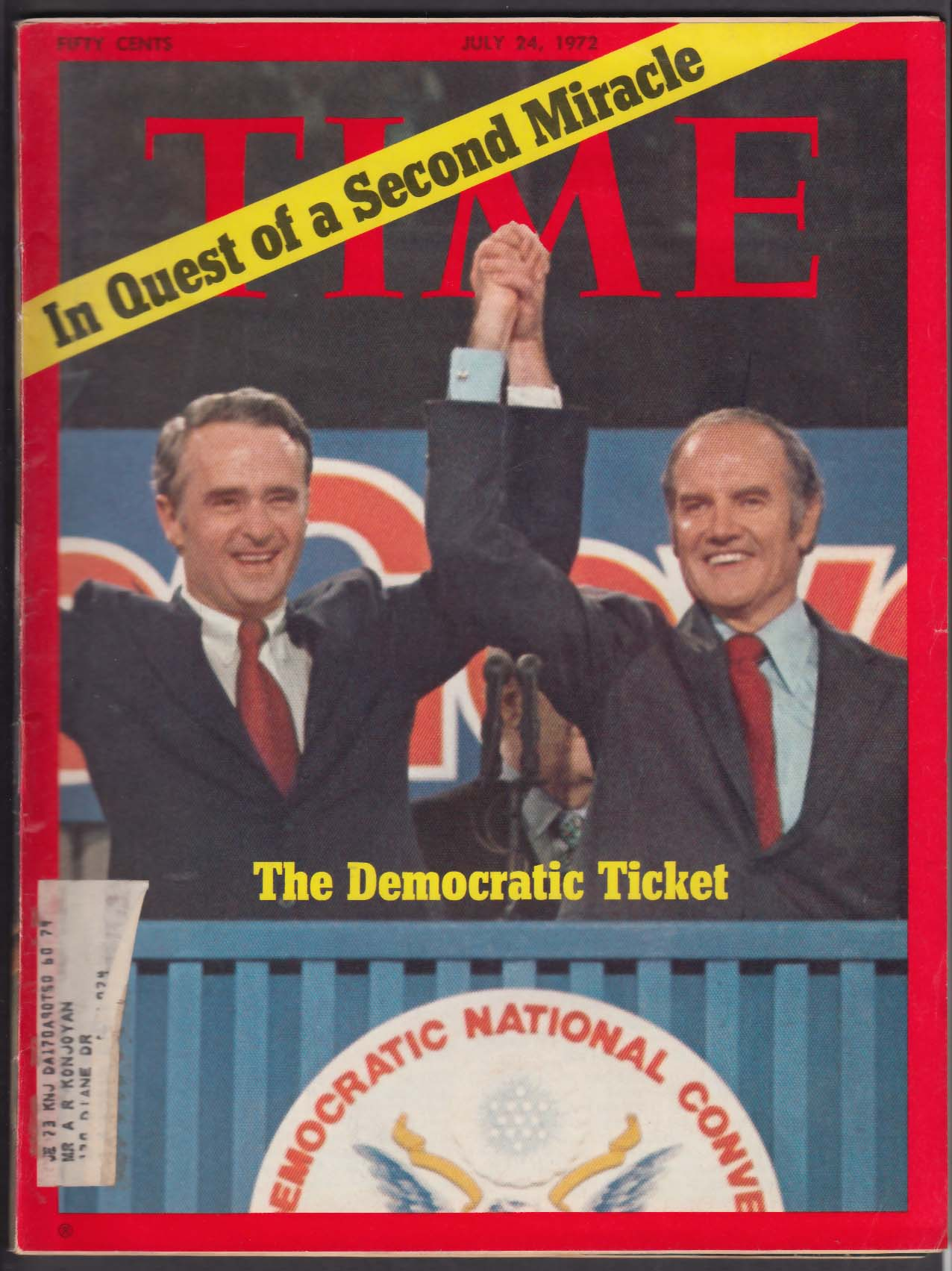 TIME George McGovern Thomas Eagleton Democratic Convention 7/24 1972