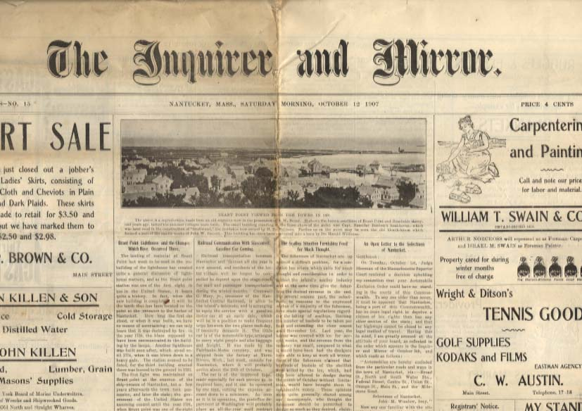 Nantucket INQUIRER & MIRROR 10/12 1907 Brant Point lighthouse scallop industry