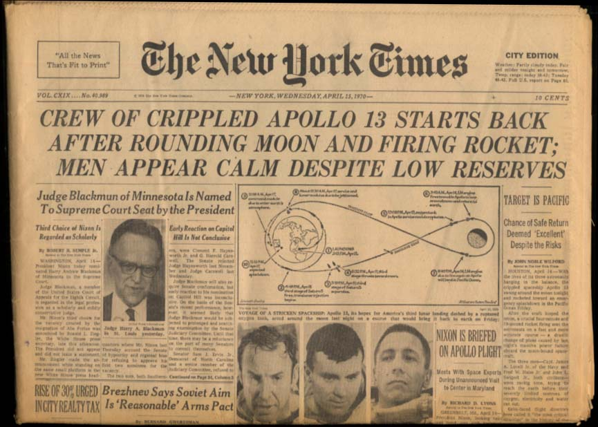 NEW YORK TIMES 4/15 1970 Crippled spacecraft Apollo 13 starts return to Earth