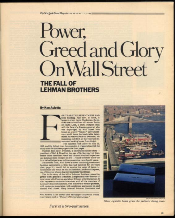 NY TIMES MAGAZINE 2/17 1985 Lehman Brothers collapse; Henri Rousseau