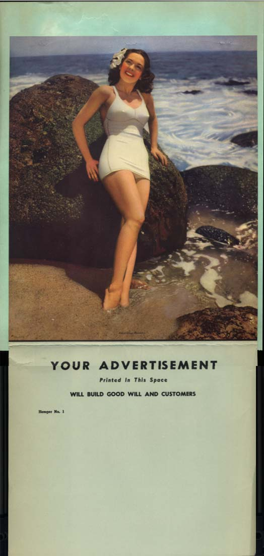 American Beauty swimsuit pin-up calendar sample 1940s