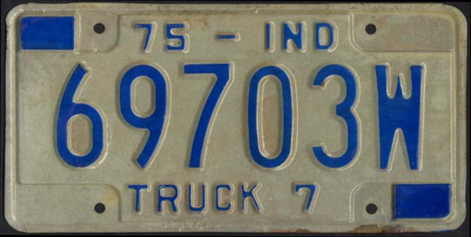 State of Indiana Truck License Plate 69703W 1975