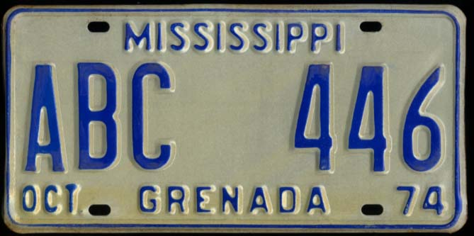 State of Mississippi Automobile License Plate ABC 446 Grenada County 10 1974