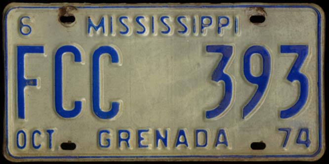 State of Mississippi Automobile License Plate FCC 393 Grenada County 10 1974