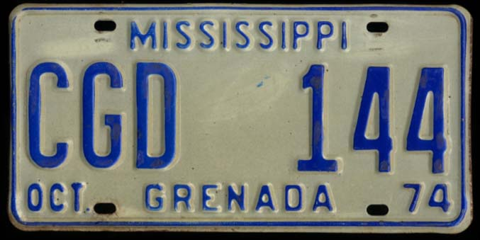 State of Mississippi Automobile License Plate CGD 144 Grenada County 10 1974
