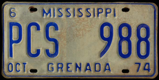 State of Mississippi Automobile License Plate PCS 988 Grenada County 10 1974