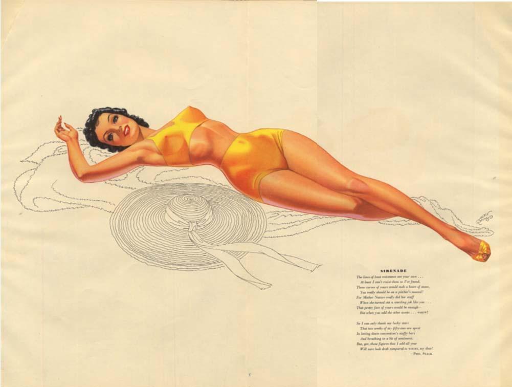"Alex Raymond Esquire pin-up ""Sirenade"" / ""Siesta"" M A Gaug silverpoint 8 1940"