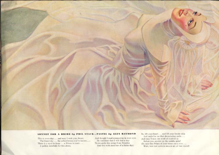 Alex Raymond pin-up Esquire page 6 1940 girl in full white dress with hood