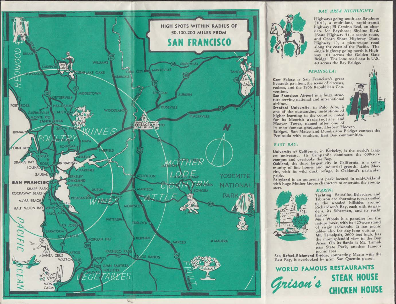 Grisons Restaurant Map Guide to San Francisco High Spots folder 1956