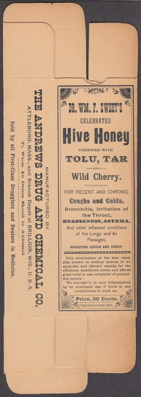 Dr Wm F Sweet's Hive Honey with Tolu, Tar & Wild Cherry unused carton 1890s