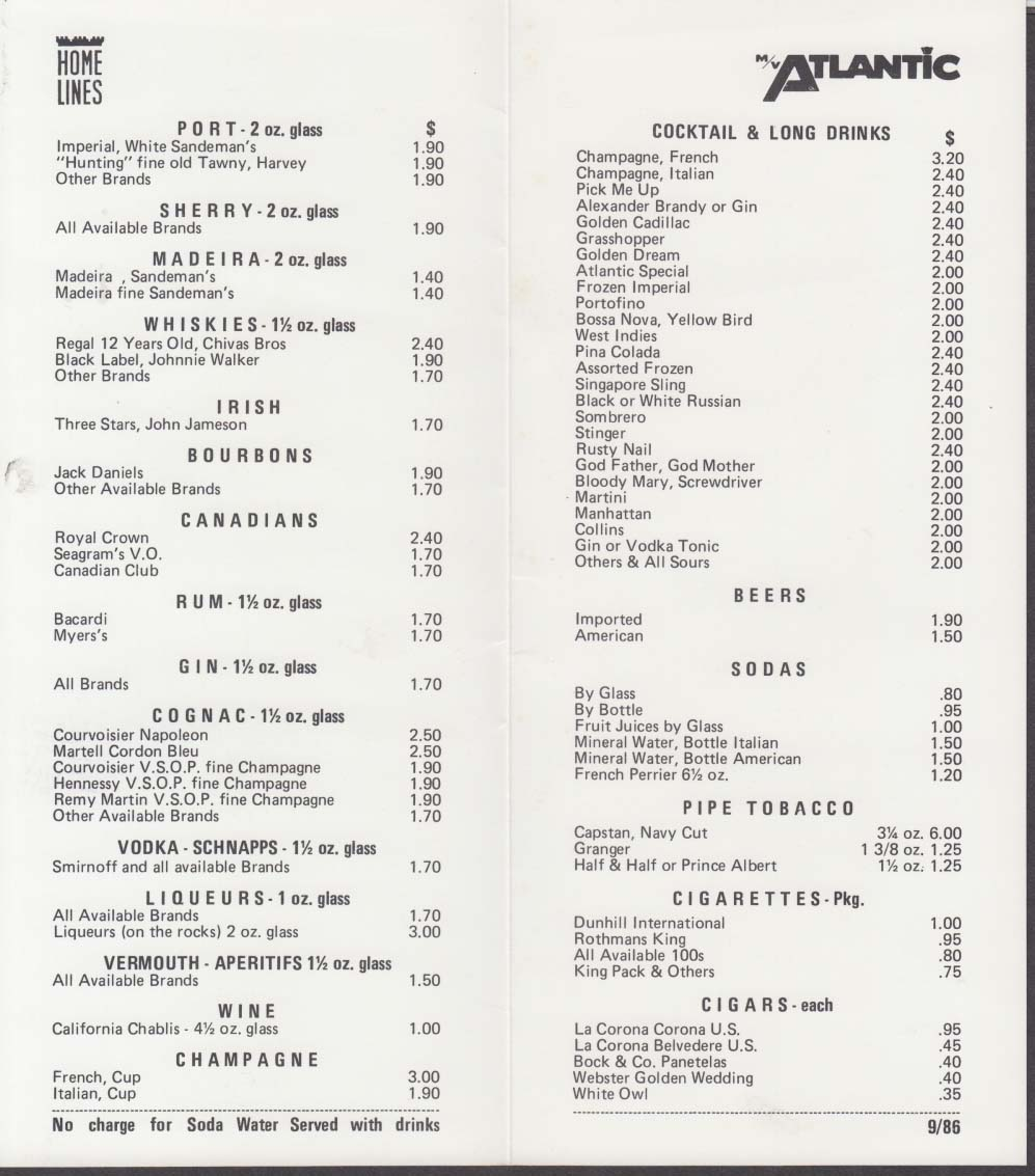 Home Lines M V Atlantic Drink Menu 1986