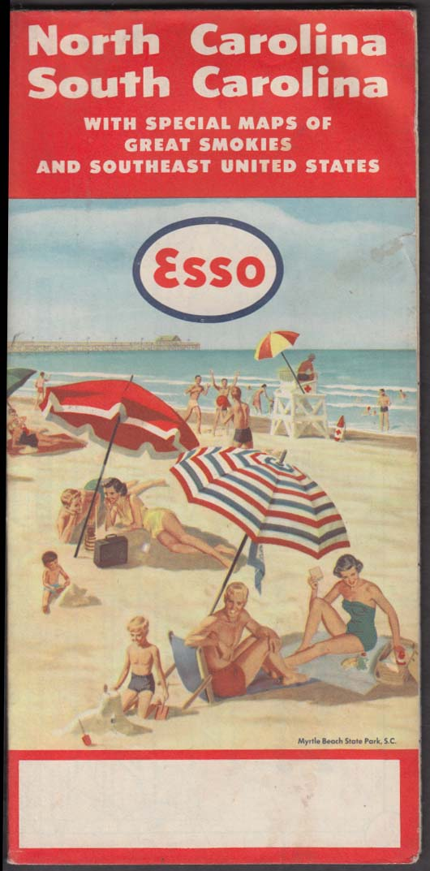 Esso Gasoline North & South Carolina Road Map 1955-1956