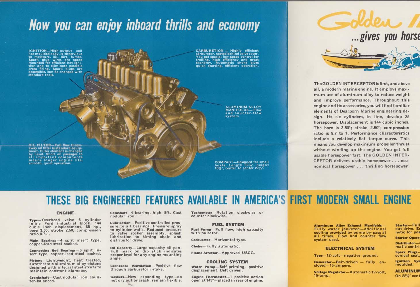 85hp Golden Interceptor inboard motorboat engine sales folder 1950s