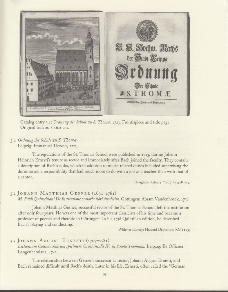 Johann Sebastian Bach Harvard 250th Anniversary catalog 2000