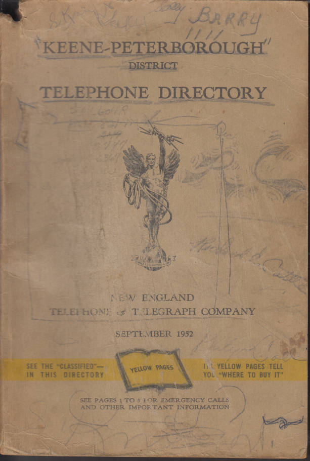 Keene-Peterborough Area Telephone Directory & Yellow Pages 9 1952 NH