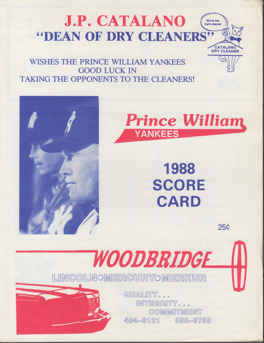 1988 Prince William Yankees Scorecard & Team Picture w/ Bernie Williams