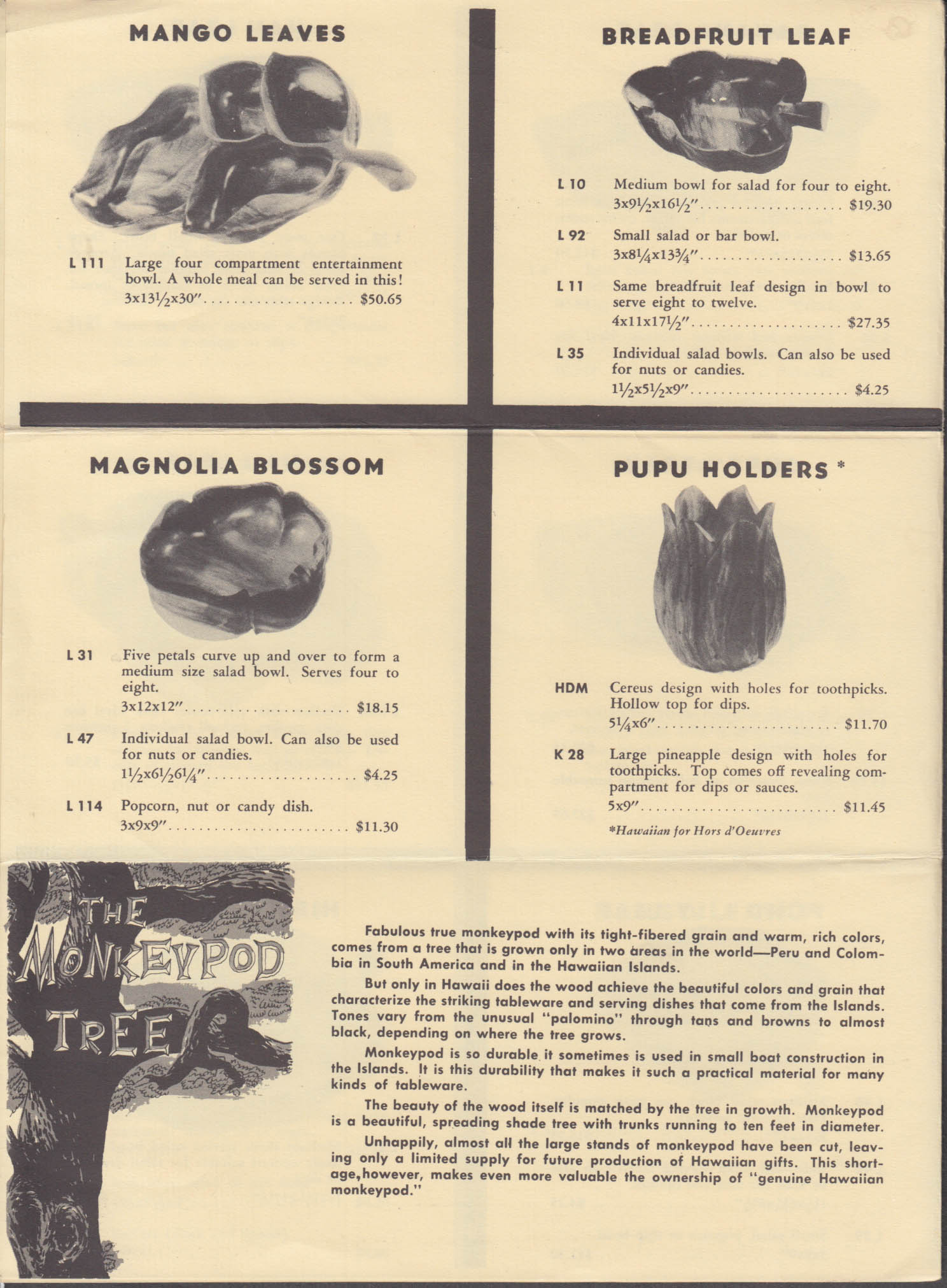 Monkeypod Gifts Christian Martinus Sorensen Woodcarver of Hawaii catalog 1950s