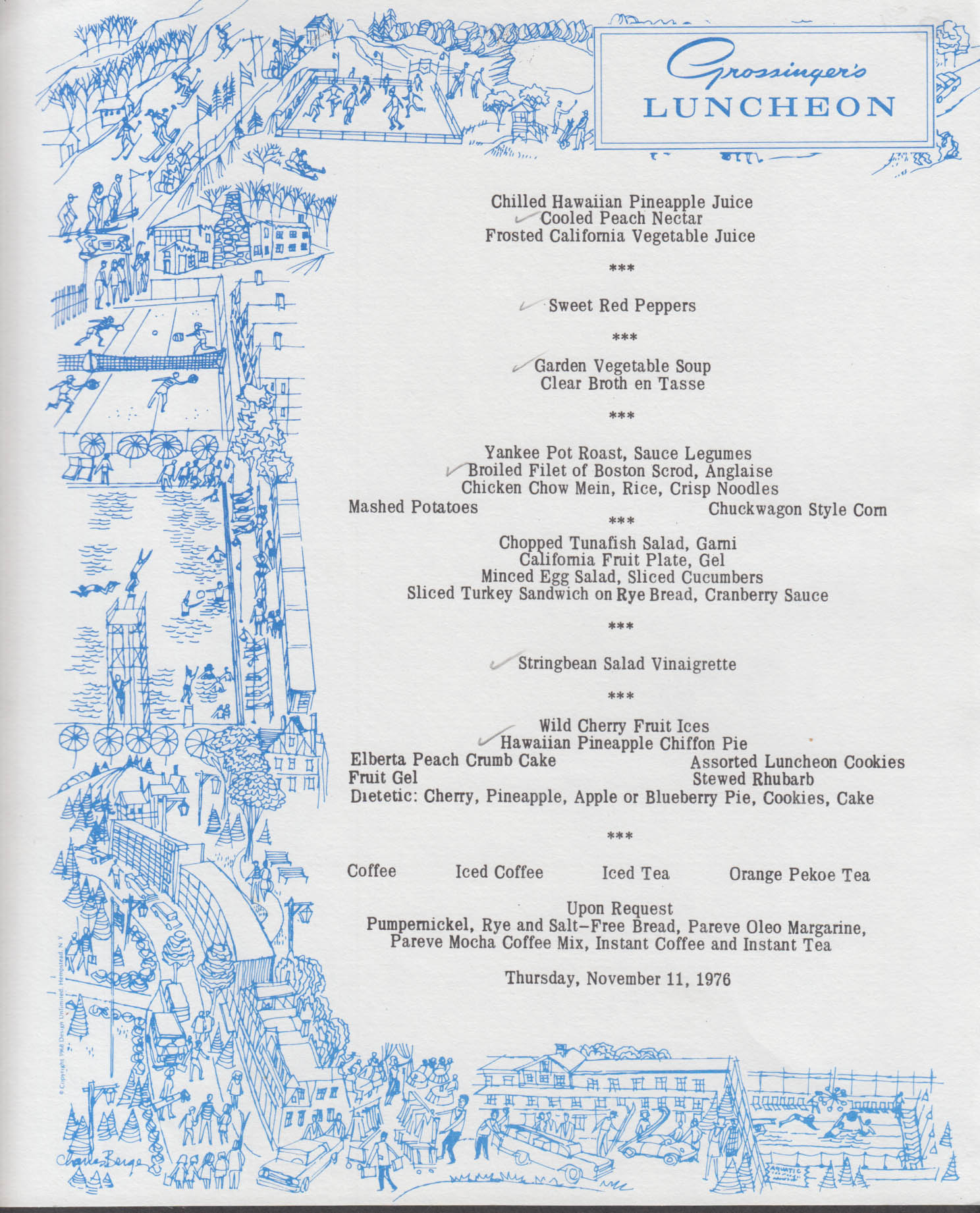 Grossinger's Resort Luncheon Menu card 11/11 1976 Liberty NY