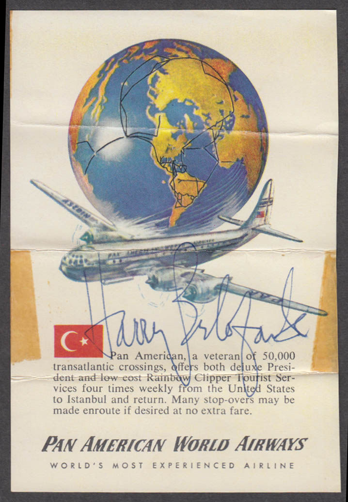 Harry Belafonte AUTOGRAPH Pan Am Stratocruiser ca 1950s