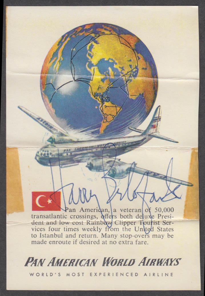 Harry Belafonte AUTOGRAPH Pan Am Stratocruiser ca 1950s