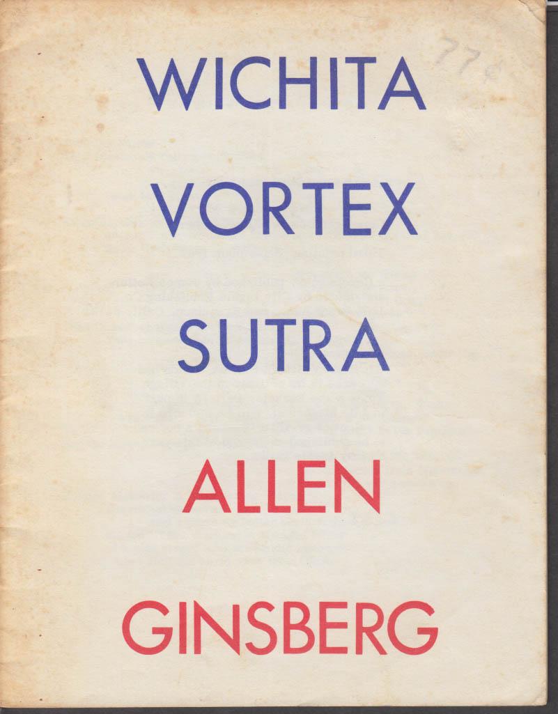 Allen Ginsberg: Wichita Vortex Sutra poetry book 3rd printing 1966