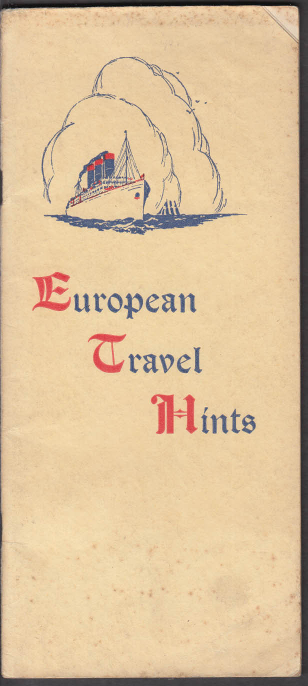 Bennet's European Travel Hints 1923 Aquitania Stockholm Orbita +