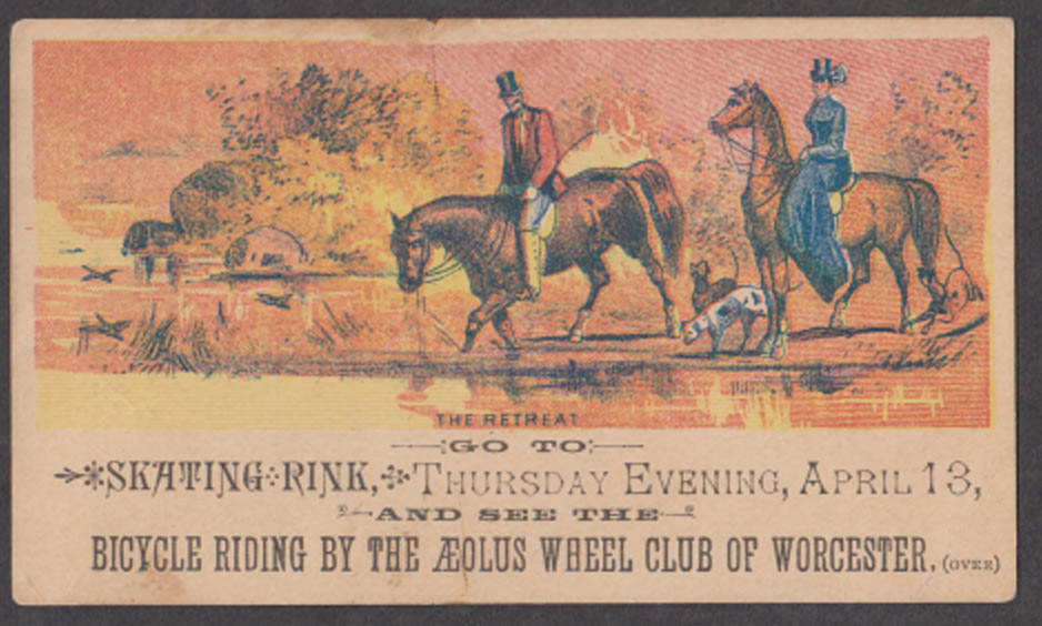Springfield Skating Rink Worcester Aeolus Wheel Club trade card 1890s bicycle
