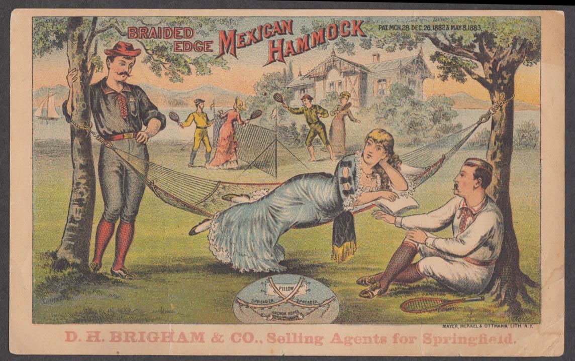 Braided Edge Mexican Hammock trade card 1881 doubles at tennis