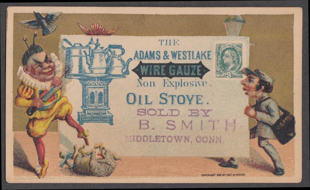 Adams & Westlake Non Explosive Oil Stove trade card 1881 mailman & harlequin