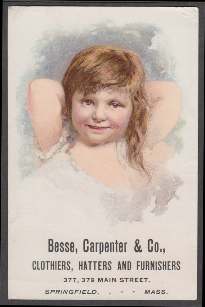 Bessie Carpenter Clothiers Hatters trade card Springfield MA 1880s little girl
