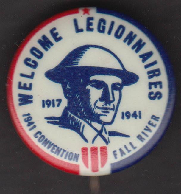 Welcome American Legion Legionanaires 1941 Convention pinback Fall River MA
