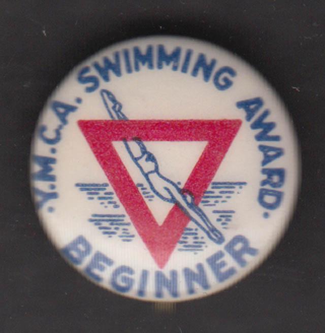 YMCA Swimming Award Beginner pinback ca 1940s