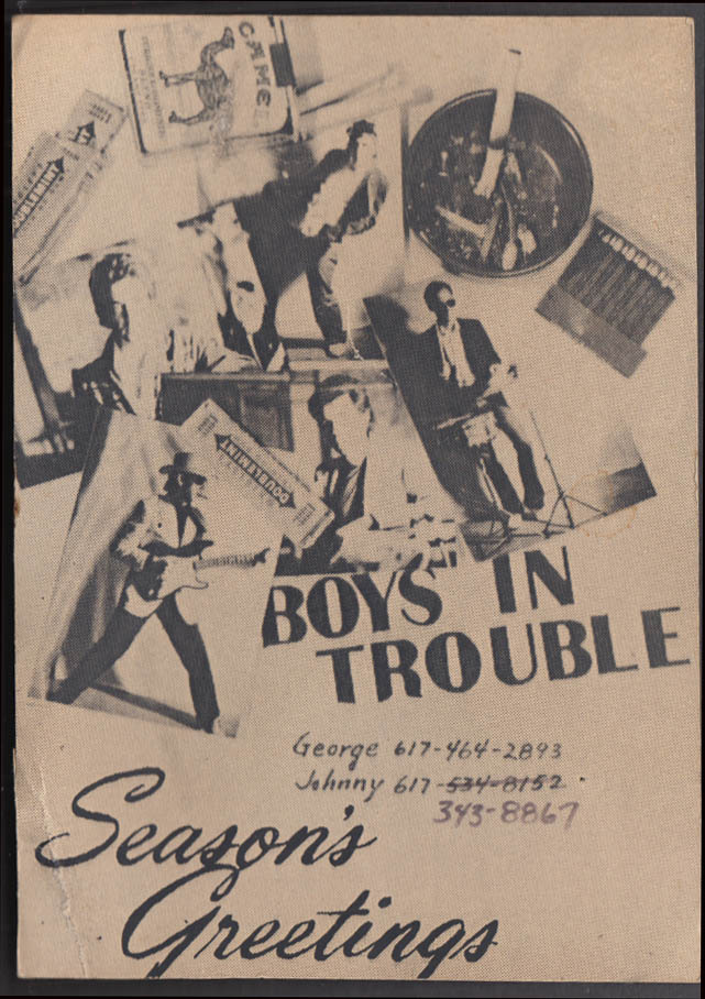 Boys in Trouble rock band Season's Greetings card 1982 hand-written by Johnny?