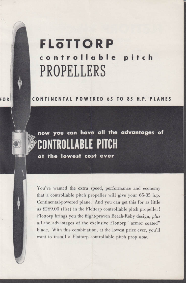 Flottorp Controllable Pitch Propellers Continental-powered planes folder 1940s