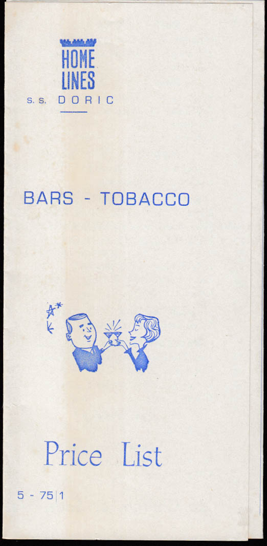 Home Lines S S Doric Bar & Tobacco Menu Price List 1975