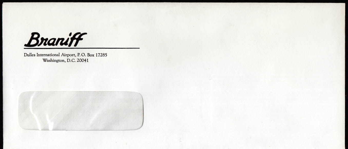 Braniff Airways Dulles Int'l Airport DC business window envelope 1960s