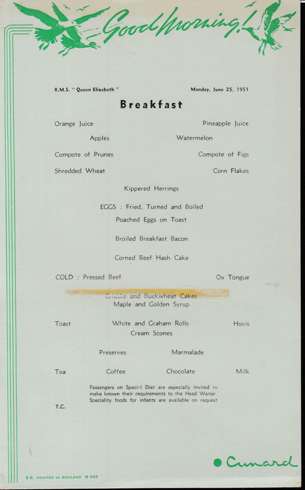 Cunard White Star R M S Queen Elizabeth Tourist Class Breakfast Menu 6/25 1951