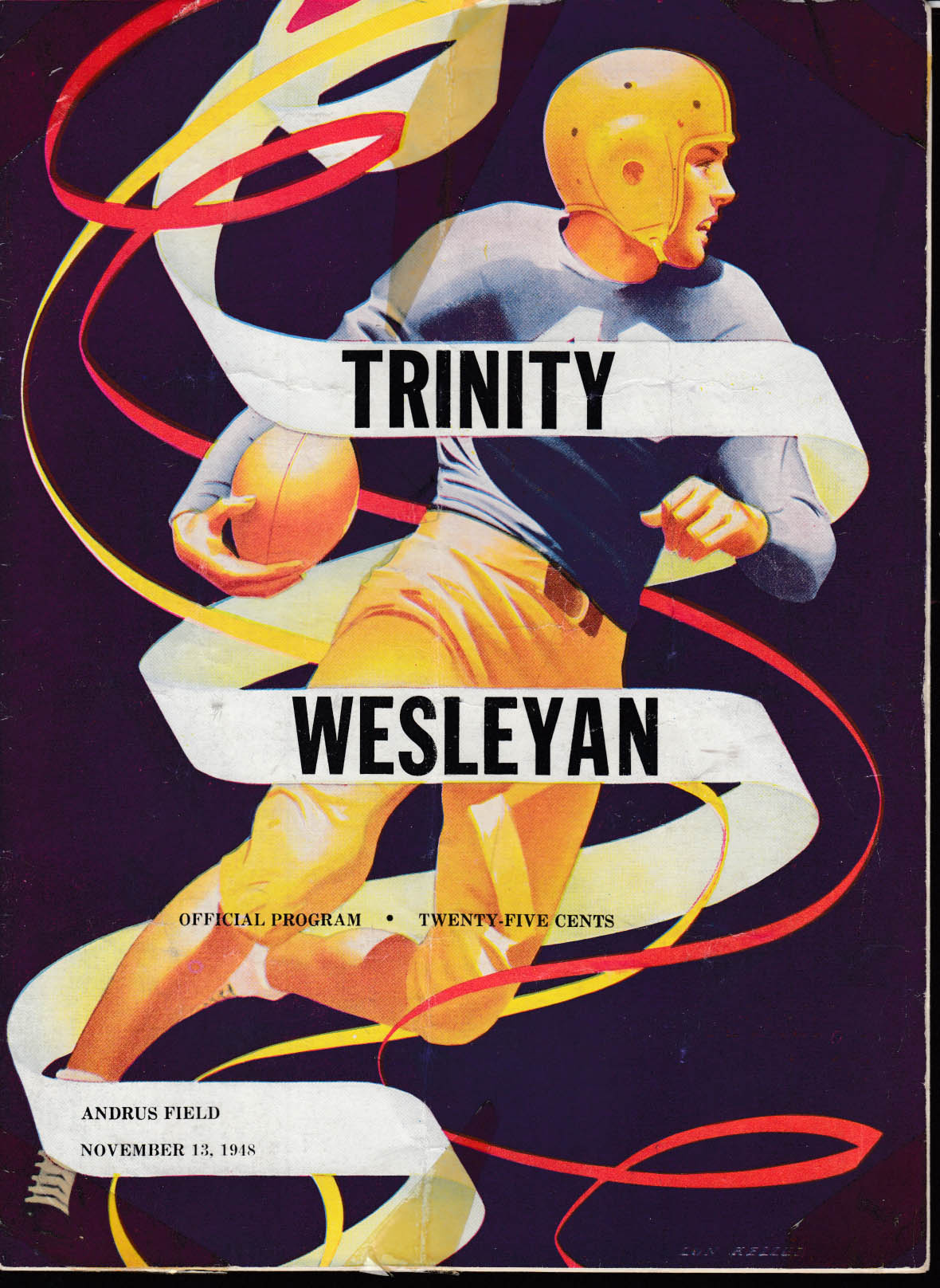 Trinity College at Wesleyan Football program 11/13 1948