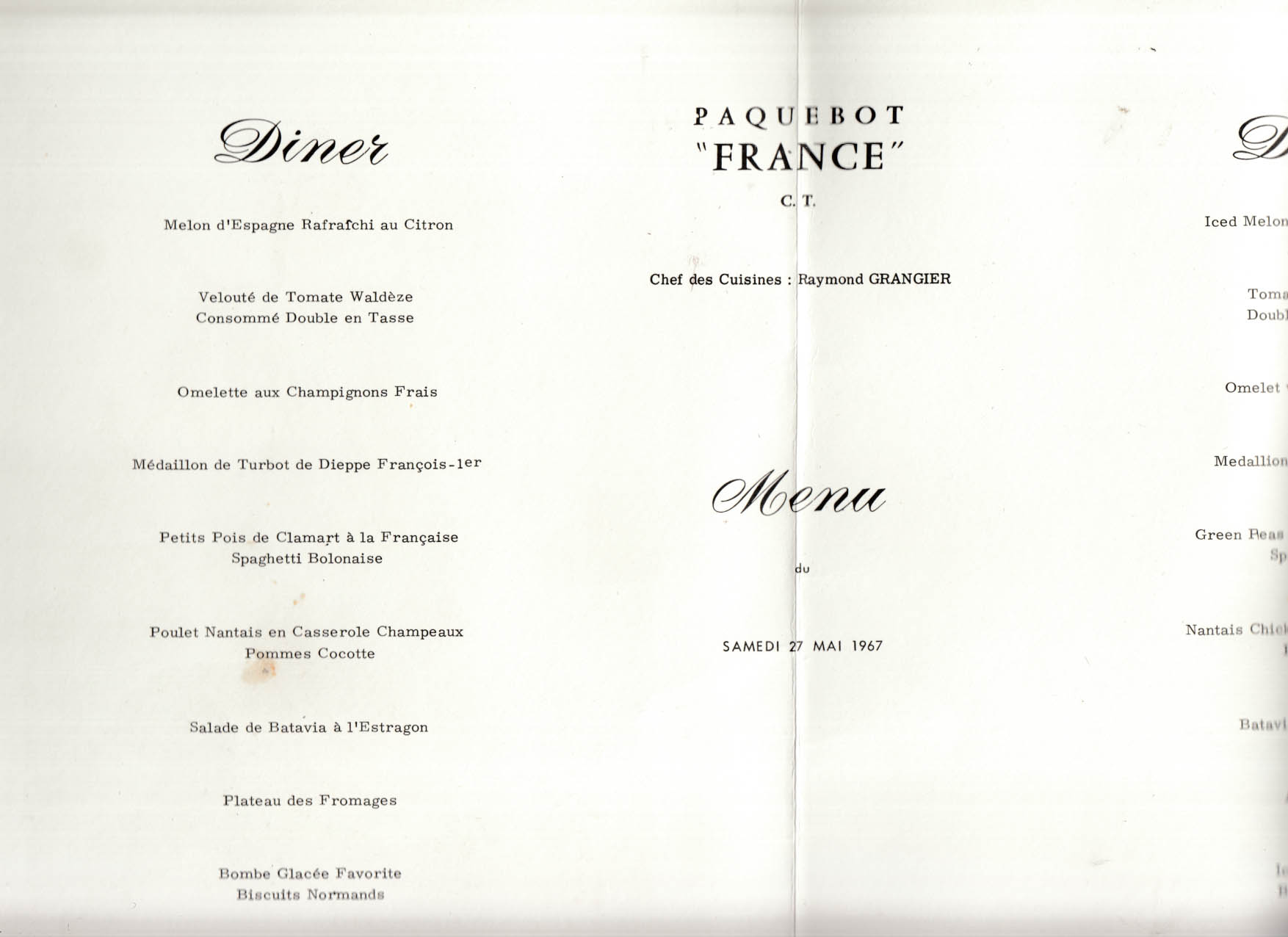 French Line S S France Tourist Class Dinner Menu 5/27 1967