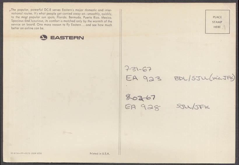 Eastern Air Lines jumbo postcard DC-8 with 1967 flight info on back