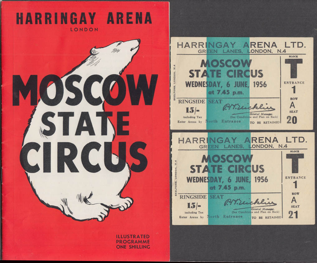 Moscow State Circus at Harringay Arena London program 1956 w/ tickets